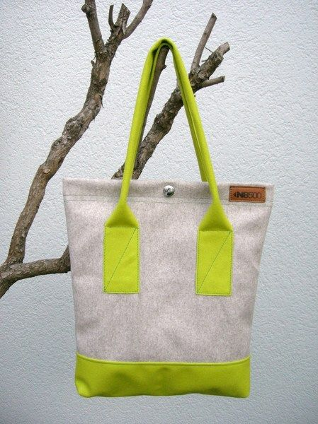 Shopper in Grau und Neongelb // Shopping bag in grey and neon yellow by N8500 via DaWanda.com