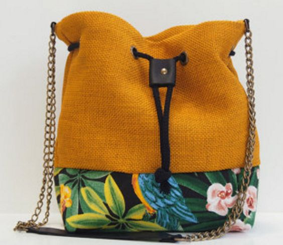 Curry Yellow Two-TOne Bucket Bag with Chain Strap