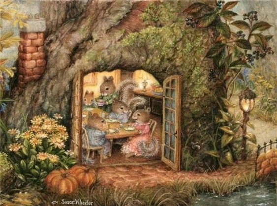 De jolies petites souris, des lapinous bien tendres, un univers enfantin qui fait penser à Béatrix Potters!