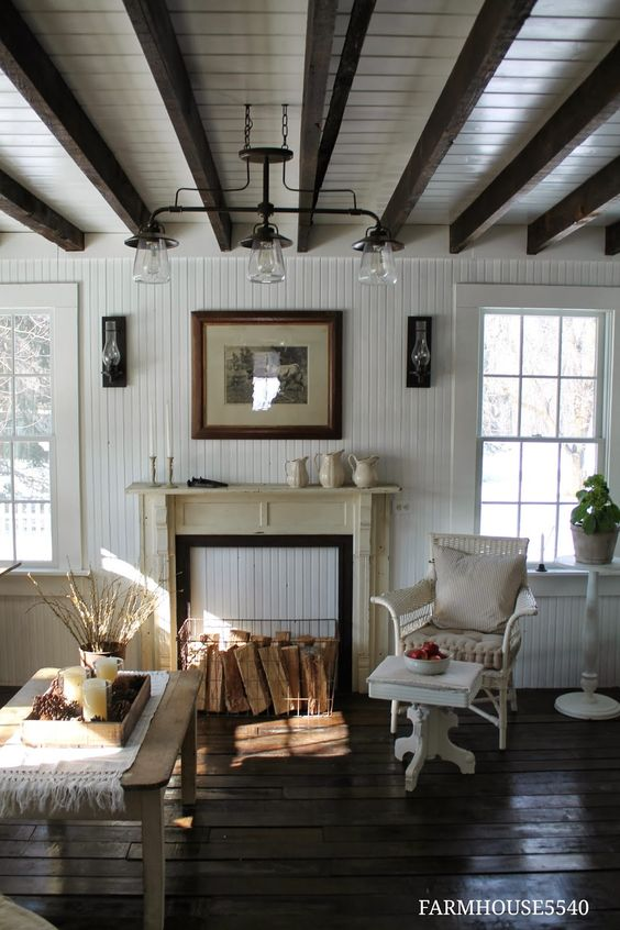 Lights  Family Room FARMHOUSE5540. Note to self -the look of the white ceiling with dark beams.