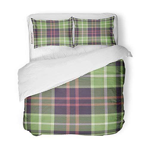 Sanchic Duvet Cover Set Green Tartan Plaid Pattern In Nature Tones Purple Decorative Bedding Set With Pillow Sham Twin S Duvet Cover Sets Bed Decor Bedding Set