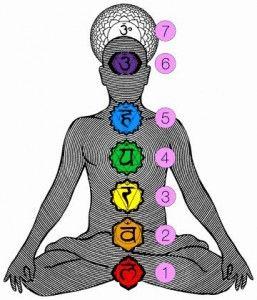 Chakra #1: Mulhadra (chakra raiz)  Asociado con el color rojo y con el elemento tierra, representa nuestro sustento y nuestra supervivencia. Está ubicado en la base de la columna vertebral, nos da arraigo físico y emocional. Es la energía que nos provee la sensación de tener las necesidades básicas satisfechas, del cuidado del cuerpo, estabilidad material y seguridad emocional primordiales. En el cuerpo, es el chakra que se relaciona con: intestino, piernas, pies y la base de la columna.: