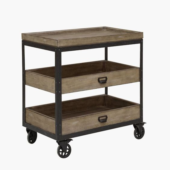 Fort Oglethorpe Kitchen Cart with Wood Top
