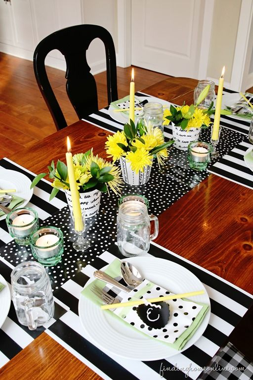 Decorating ideas tables and yellow on pinterest for Black and white tablescape ideas
