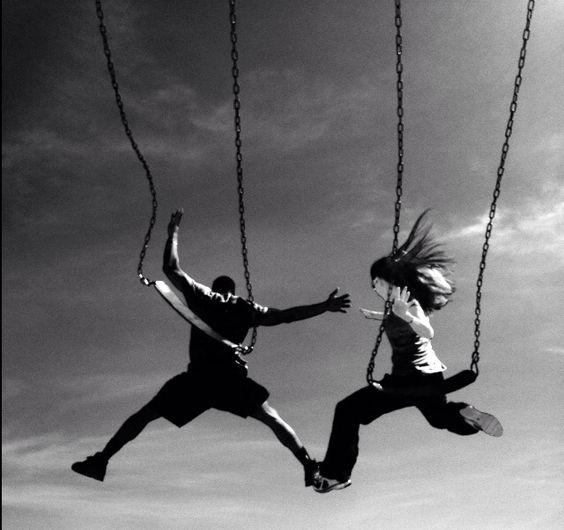 Couple swing jump. Be careful!