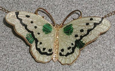 Guilloche Enamel Goldfill over Sterling 925 Butterfly Necklace