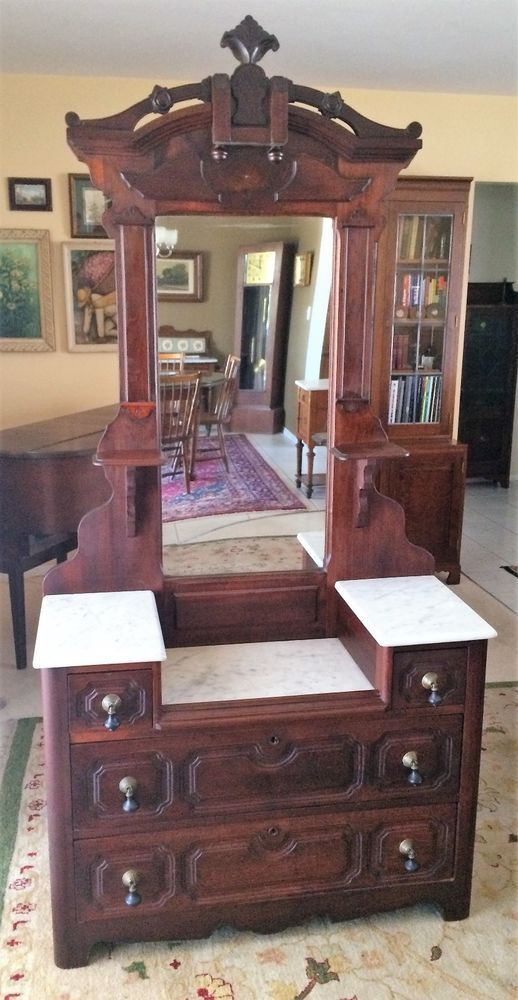 Up For Sale Is A Victorian Marble Top Dresser Or Foyer Chest That