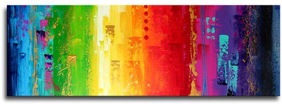 groot en opvallend schilderij met bijna alle kleuren van de regenboog ...