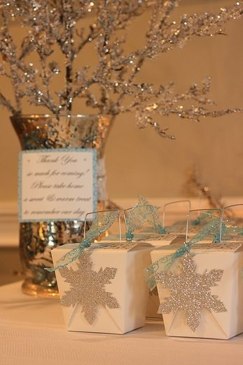Winter bridal wedding shower party ideas favor boxes for Winter dance decorations