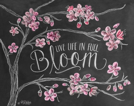 Spring Print Cherry Blossoms Chalk Art Cherry von LilyandVal, $19,00