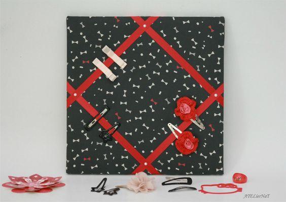 cadre pour barrettes 39 n ud 39 rouge et noir d co murale rangement chambre fillette. Black Bedroom Furniture Sets. Home Design Ideas