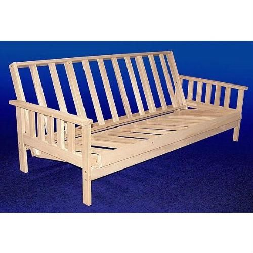 Full Size Solid Wood Futon Sofa Bed Frame With Armrests Unfinished