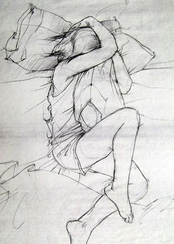 pillow drawing. the military spouse during a deployment....the only missing thing is if you have kids, are on edge with entire bed taken by them :-)   pinterest pillow drawing