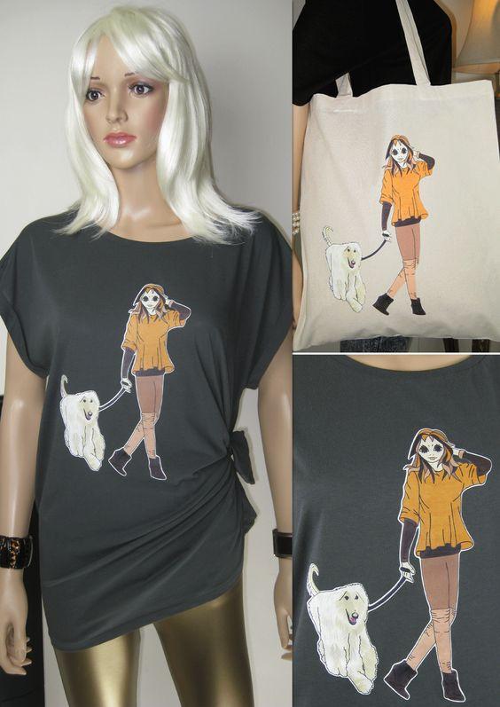 """Frauen auf der ganzen Welt ihre Hunde lieben, Alice Brands unterstützt das Gefühl, mit Spaß, lebendige Bilder von berühmten Hunderassen auf T-Shirts """"N"""" TOTES, 20% Rabatt ...... ALICE MIT AFGHANEN - wir hoffen, dass Sie sie und kann sie weltweit von bestellen: www.etsy.com/AliceBrands. www.stores.ebay.co.uk/ALICE-BRANDS. www.alicebrands.co.uk. #alicebrands."""