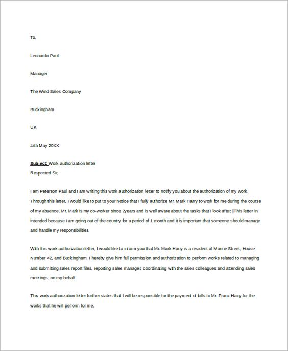 Sample Work Authorization Letter   Examples In Word Pdf