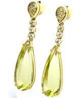Brincos em Ouro 18k, Top. Green Gold e Diamantes - R$4212,00