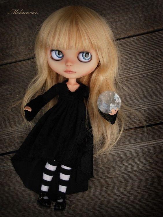 OOAK Artdoll Custom Blythe Doll by Melacacia ~ Magic Witch ~ Human Hair Girl   eBay