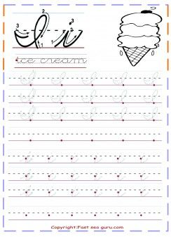 printables cursive tracing handwriting practice worksheets letter i for ice coloring. Black Bedroom Furniture Sets. Home Design Ideas