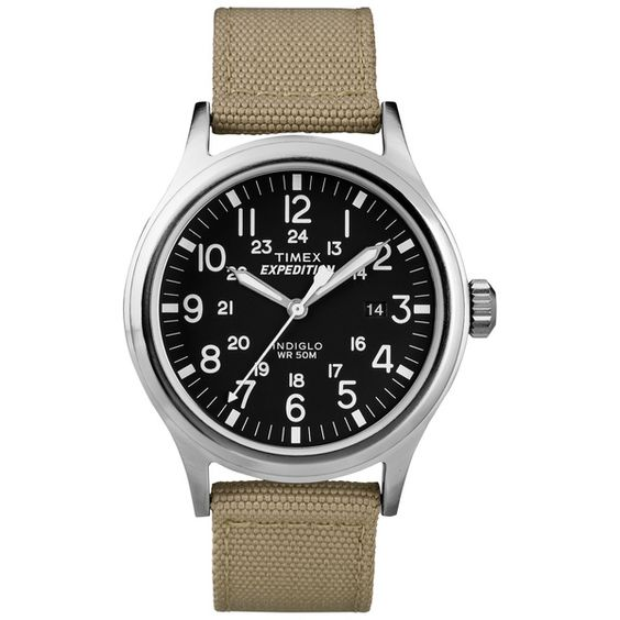 """• the world s catalog of ideas timex men s expedition scout tan nylon strap watch overstockâ""""¢ shopping big"""