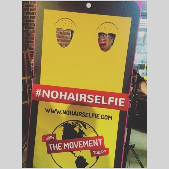 MoVernie trying to fit his BIG head into the board. You can still contribute your donations to the #NoHairSelfie.com til March 30. #PrincessMargaret #NoHairSelfie #MoVernie #Charity #WorldCancerDay by realmovernie