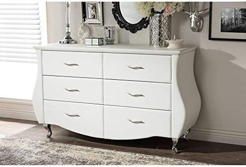 Best Seller White Faux Leather 6 Drawer Dresser Modern Assembled