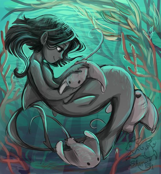 Similar to the other Disney styled illustration of a shark girl look there for description.