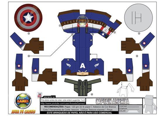 Divirtam-se montando este boneco de papel 3D. Vídeo boneco montado: http://youtu.be/sWRSClfgpEI #Paper_Toy #Capitão_América
