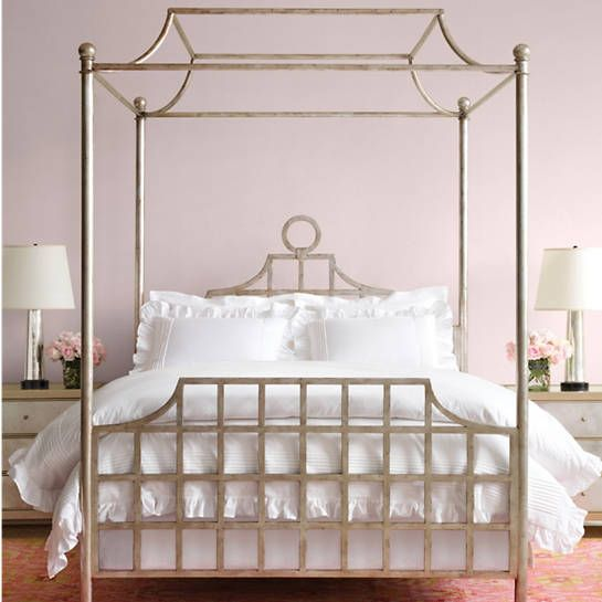 Atlas Canopy Metal Bed Silver Finish Furniture In 2020 Crib