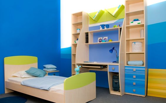 Kids Room, Astounding Blue With Single Bed Completed With Nightstand And Desk Combined With Cabinet Plus Drawers Of Kids Room Storage White Accent Wall Color: Wonderful The Two Plan for Creating the Kids Room Repository