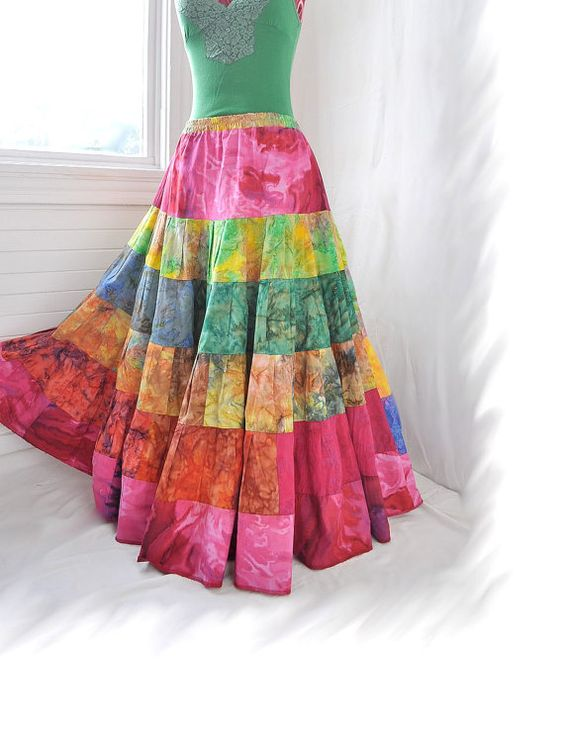 Watercolour Whirl  Long Hippy Patchwork skirt by BarefootModiste