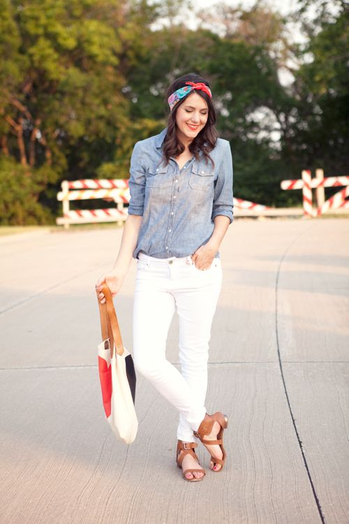 Another great chambray outfit - I love the head scarf!