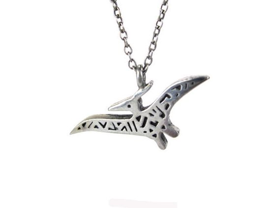 "This modern pterodactyl is the stuff dreams are made of. | 19 Incredible Dinosaur Necklaces Every ""Jurassic Park"" Fan Needs"