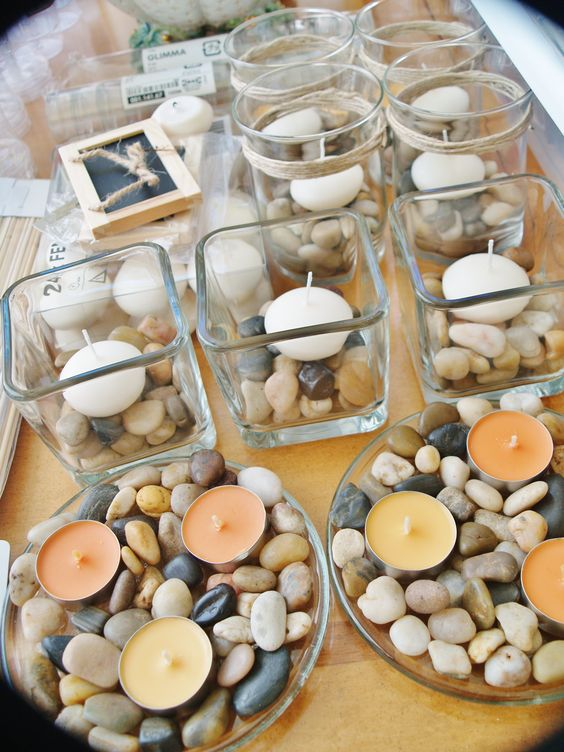 rocks in vase with candle - Google Search More