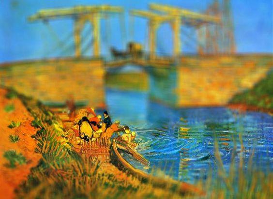 Pont de Langlois, 1888. Van Gogh. VAN GOGH EN MINIATURA (TILT-SHIFT). REHACIENDO ARTE.