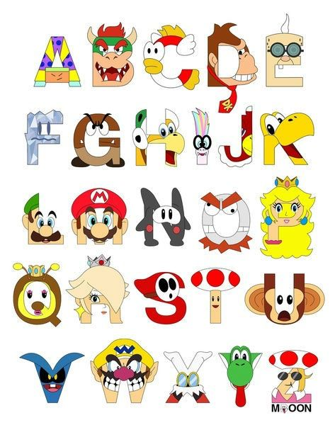 Character Design Letter : Super mario characters as alphabet letters drawings