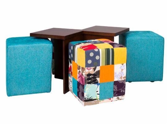 Mesa de Centro com 4 Puffes Duo - Castanho e Patchwork