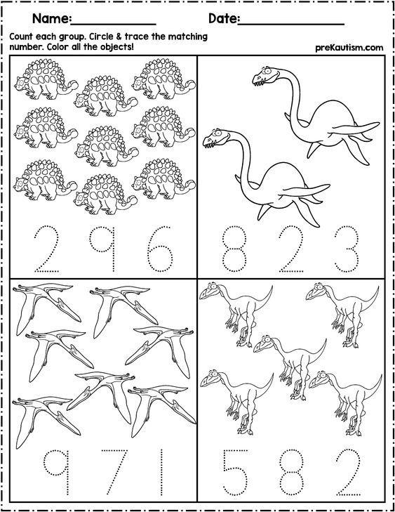 Dinosaur Count & Number Write Dinosaurs Preschool, Dinosaur Activities  Preschool, Dinosaur Theme Preschool