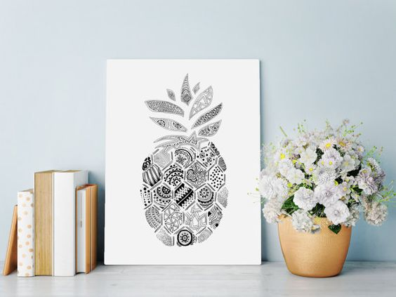 Wall+Art+Print+featuring+intricate+hand+drawn+by+HartAndWallDesign