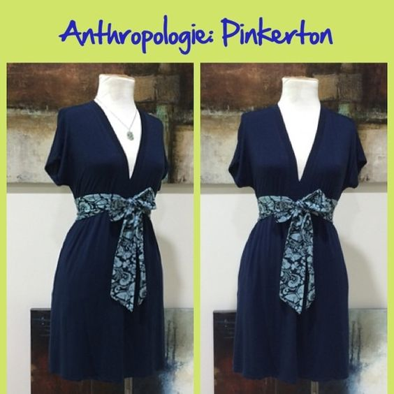 "Anthro ""Stem-By-Stem Chemise"" by Pinkerton Soft jersey stretch knit pullover in navy blue with an attached tie sash. Great condition.  Easily roomy enough for a size small.  **  Prices are as listed- No offers please.  I'm happy to bundle to save shipping costs, but there are no additional discounts.  No trades, paypal or condescending terms of endearment  ** Anthropologie Dresses"