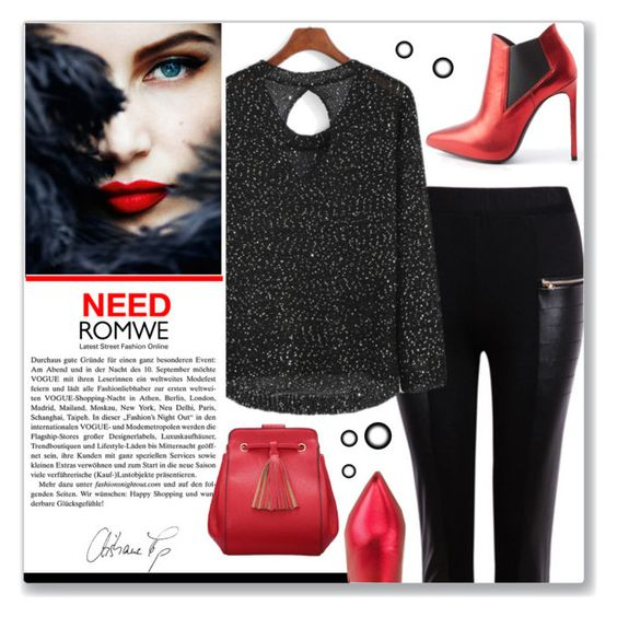 """""""Black&red"""" by gina-m ❤ liked on Polyvore featuring Cameo, women's clothing, women's fashion, women, female, woman, misses, juniors, contest and romwe"""