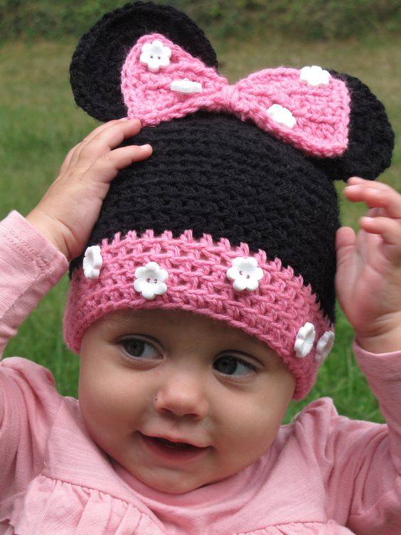 Toddler Hat Minnie Mouse Hat Crochet Minnie by KnitsandTidbits