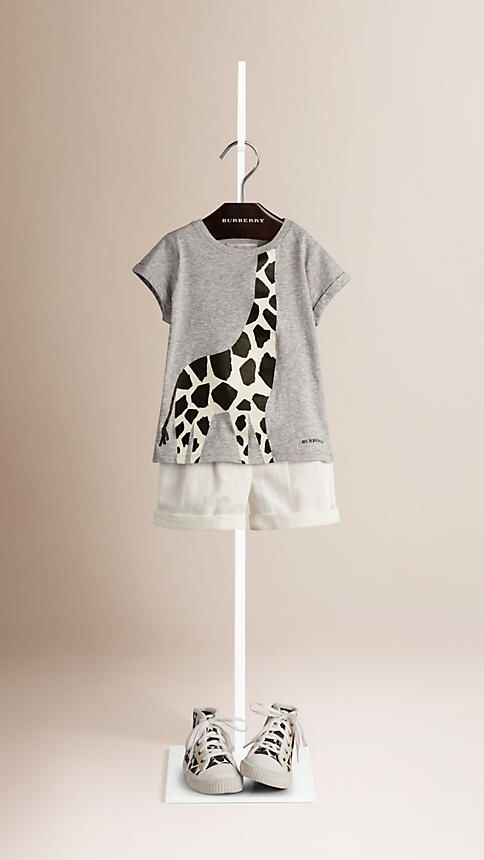 Grey melange Giraffe Print Cotton T-shirt - Image 1