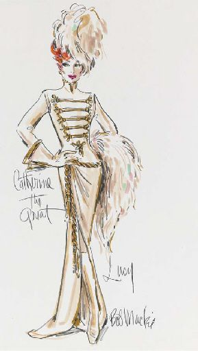 "Late 1960's to 1970's A costume design by Bob Mackie for Lucille Ball, felt pen and pencil on paper, signed, the design featuring Lucille Ball wearing a period military-style gown with a feather muff and hat in her role as ""Catherine The Great"" on the ""Carol Burnett Show"""