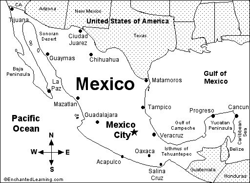 Map of Mexico with major cities and other surronding areas – Map of Mexico for Kids
