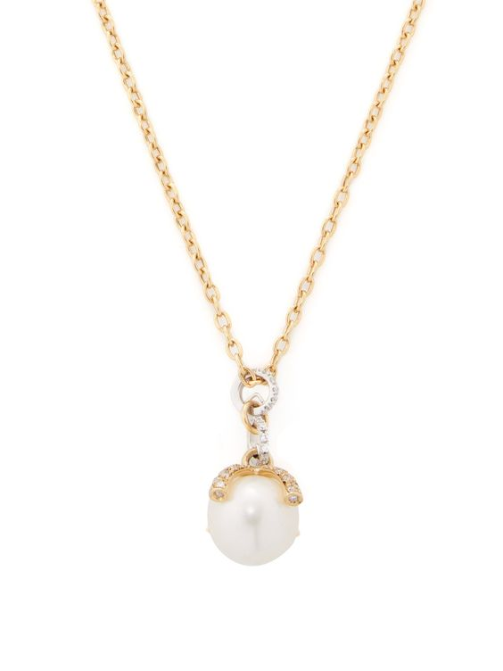 White Pearl & Diamond Prong Pendant Necklace by Nanis at Gilt