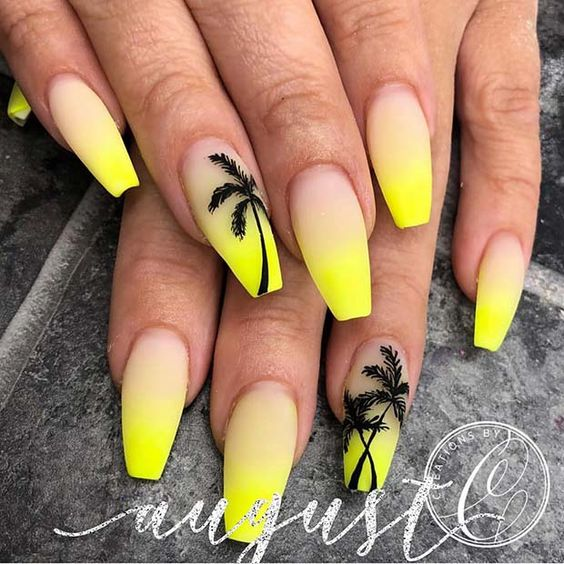 Yellow Ombre Nails with a Palm Tree Design #summernails #neonnails