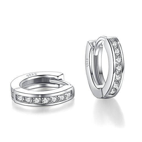 925 Argent Sterling Baguette Diamant Halo Clous D/'Oreilles