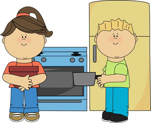 Image result for parents teaching children how to cook clip art