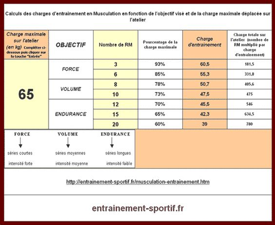 Musculation calcul des charges d 39 entrainement for Programme sportif musculation