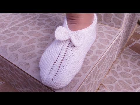 Pantuflas De Lana Con Moño Tejidas Con Dos Agujas Handmade Diy Youtube Con Imágenes Tejer Dos Agujas Moños Tejidos Lana